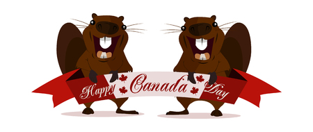 Concept on the day of Canada, Holiday Beaver on isolated background, vector Illustration