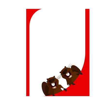 Beaver design in red frame.