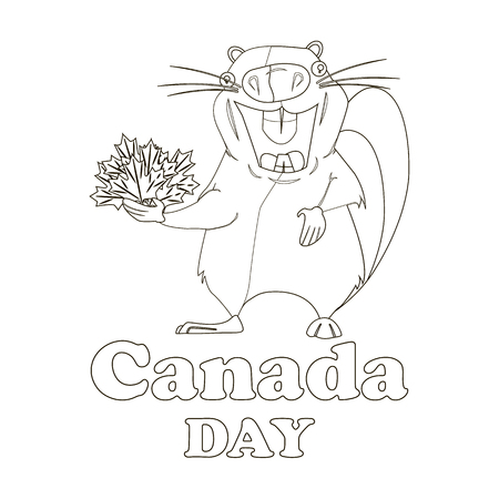 Canada day typography with beaver design in outline Illustration.
