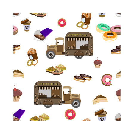 Concept on street food, coffee to go. Seamless pattern with car and sweets, vector 矢量图像