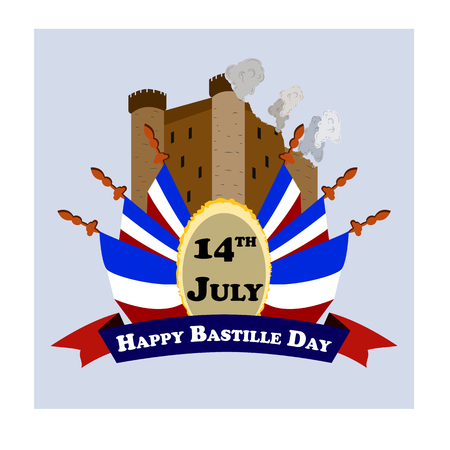 Concept for the French National Day Bastille Day, July 14, vector