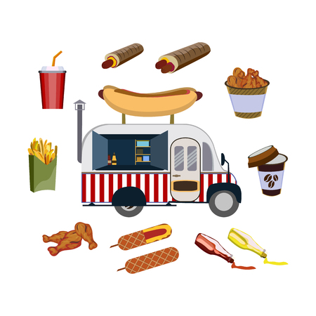 Set with car and fast food vector illustration