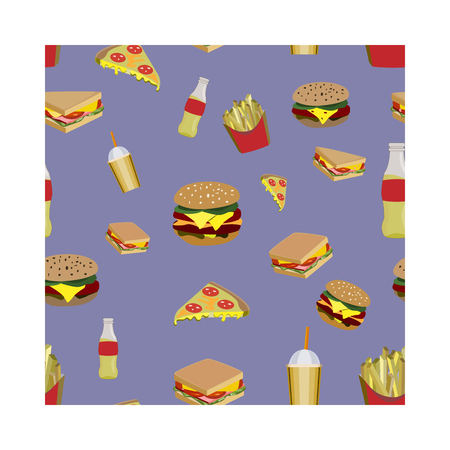 Concept on street food. Seamless pattern with fastfood, vector 矢量图像