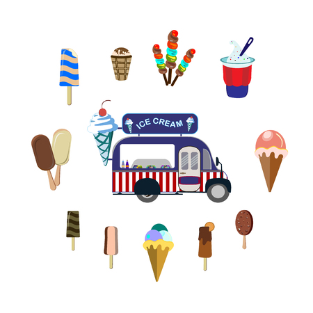 Concept on street food. Set with car and different ice cream, vector