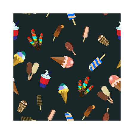 Concept on street food. Seamless pattern with different ice cream, vector