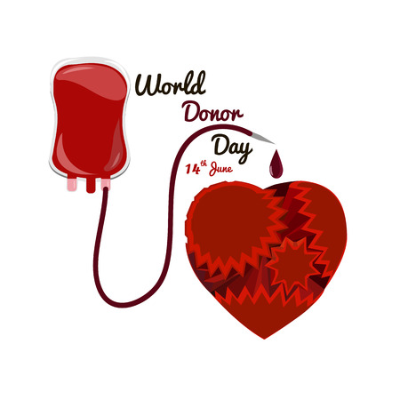 Concept on the world donor day June 14, package for blood transfusion with a heart of gears, vector