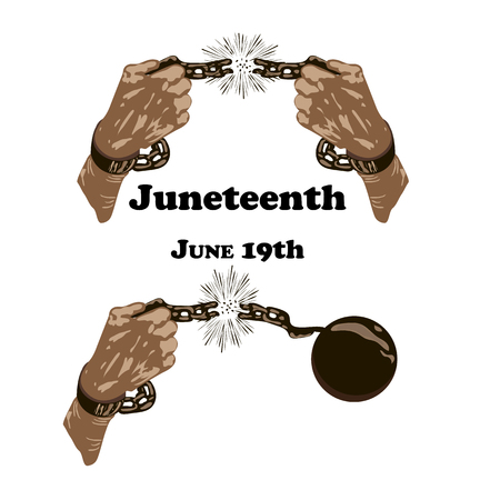 Concept on Juneteenth, Freedom day. Hands with broken chain, vector