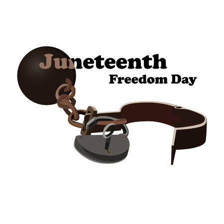 Concept on Juneteenth, Freedom day. Image of open shackles, vector 矢量图像