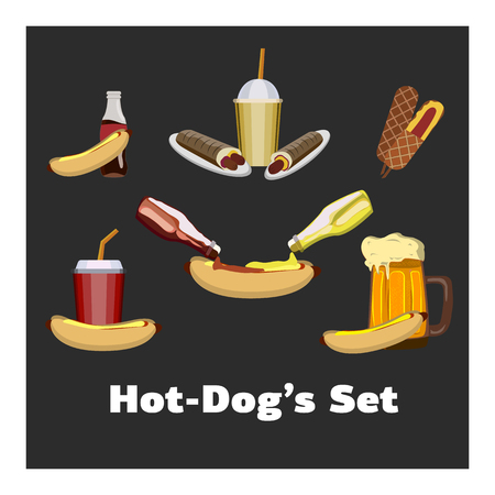 Concept of National Hot Dog Day 矢量图像