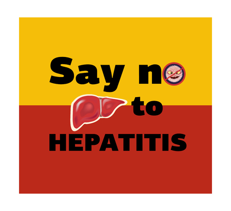 Concept for World Hepatitis Day, inscription on a background of a flag, vector