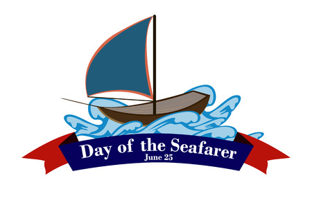 Element of design for the Day of the seafarer. A ship on the waves. Vector illustration.