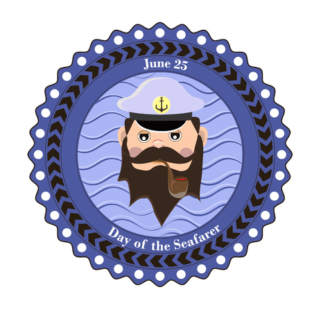 Element of design for the Day of the seafarer, the captain of the ship smokes a pipe. Vector illustration. 矢量图像