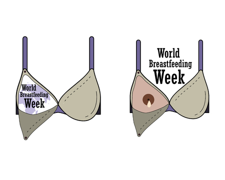 World Breastfeeding Week, breast-feeding bra. Vector Ilustração
