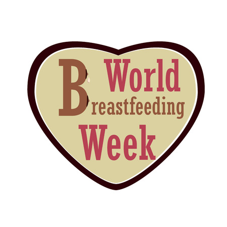 World Week of Breastfeeding. Inscription with the letter B, imitating the woman's chest against the background of the heart. Vector 矢量图像