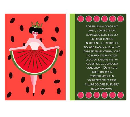 Concept for the National Watermelon Day, picture postcard with watermelon queen, vector 矢量图像