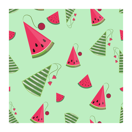 Concept for the National Watermelon Day, seamless gift wrapping pattern, vector