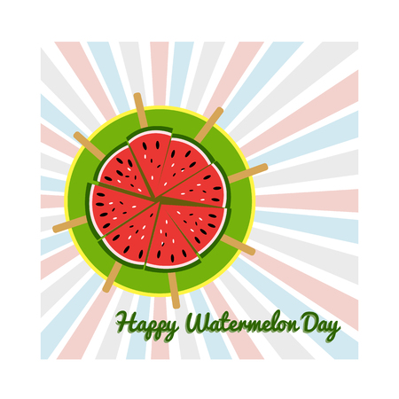 Concept for the National Watermelon Day, greeting card with watermelon sliced slices on a plate 矢量图像