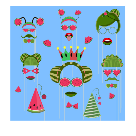 Concept for the National Watermelon Day, set of props for a photo shoot of 23 subjects, vector