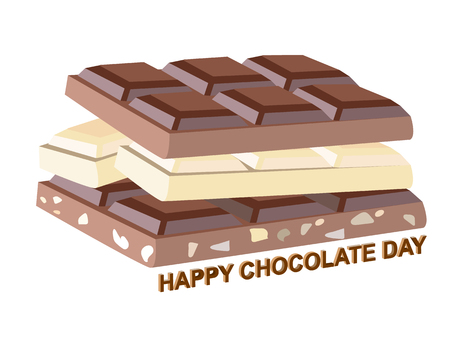 Vector illustration on a theme of World Chocolate Day, 3 types of chocolate, on isolated background