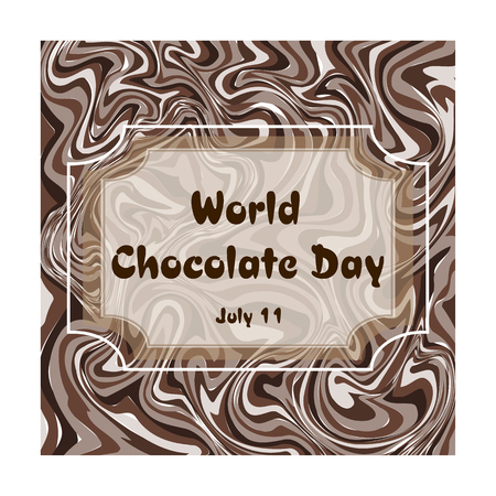 Vector illustration on a theme of World Chocolate Day, festive greeting card with abstract background 免版税图像 - 104422766