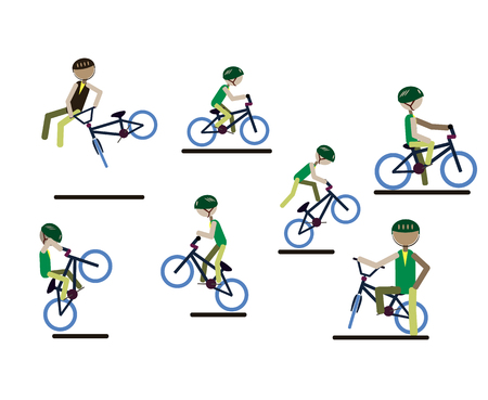 A set of characters engaged in active sport. Vector.