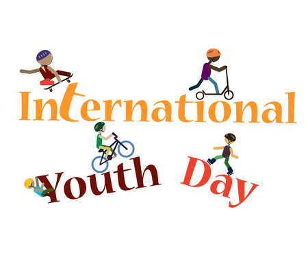 Stylized inscription on International Youth Day, depicting the silhouettes of youth engaged in extreme sports. Vector 矢量图像