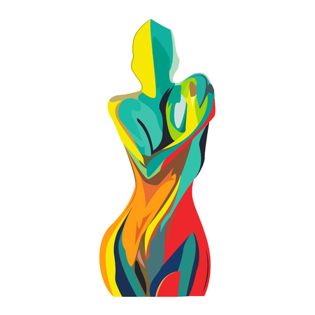 Silhouette of a girl from multi-colored lines on an isolated background, vector illustration