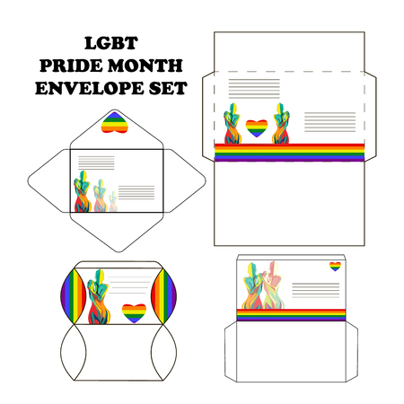 Set of postal envelopes for the Pride month, with silhouettes of girls, vector 矢量图像