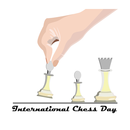 International Chess Day, vector illustration with a hand of a player's hand, making the first move in a chess game 矢量图像