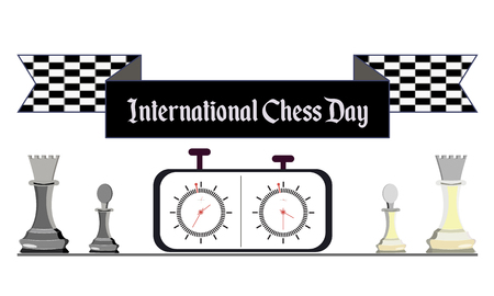 International Chess Day, vector illustration with white and black chess and chess clock 矢量图像