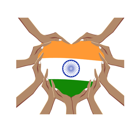 Independence Day of India, vector illustration with hands in the shape of the heart, inside the national flag