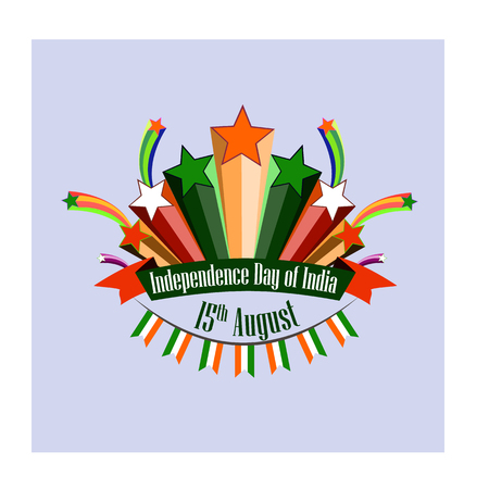 Independence Day of India, vector illustration with stylized festive fireworks