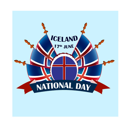Icelandic National Day, vector illustration with national flags 免版税图像 - 104422783