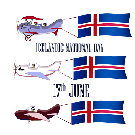 Icelandic National Day, set with three planes and national flags on an isolated background