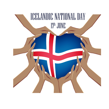 Icelandic National Day, vector illustration with hands in the shape of the heart, inside the national flag 矢量图像