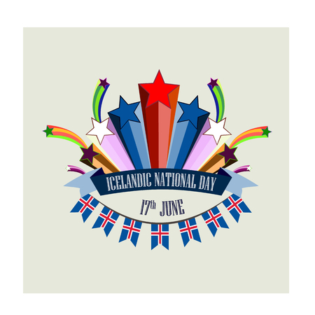 Icelandic National Day, vector illustration with stylized festive fireworks