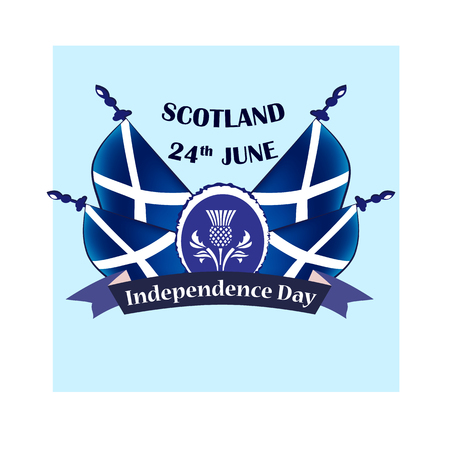 Independence Day of Scotland, vector illustration with national flags