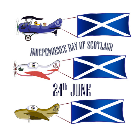 Independence Day of Scotland, set with three planes and national flags on an isolated background Illustration