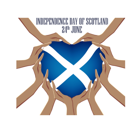 Independence Day of Scotland, vector illustration with hands in the shape of the heart, inside the national flag