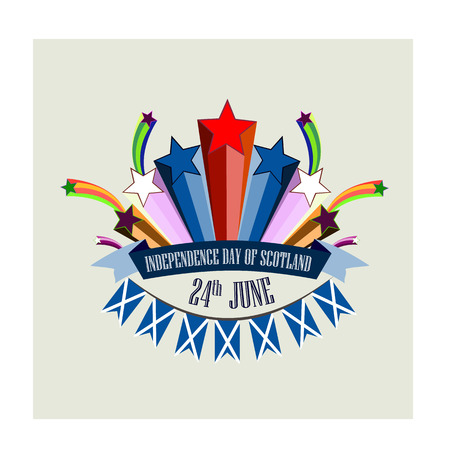 Independence Day of Scotland, vector illustration with stylized festive fireworks 矢量图像