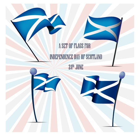 Independence Day of Scotland, a set of flags