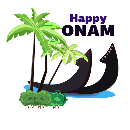 Happy Onam, vector illustration of a boat on the shore of an oasis