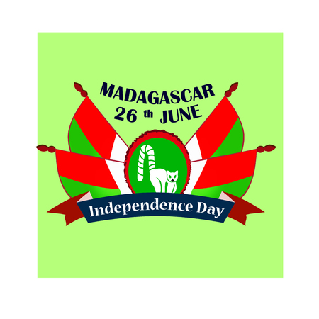 Independence Day of Madagascar, illustration with national flags 矢量图像