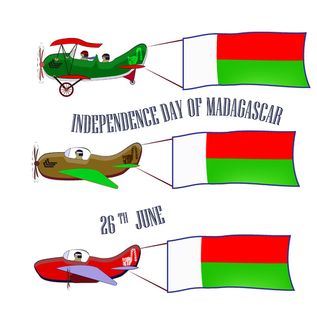 Independence Day of Madagascar, set with three planes and national flags on an isolated background