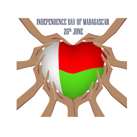 Independence Day of Madagascar, illustration with hands in the shape of the heart, inside the national flag