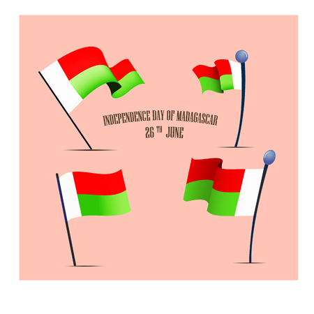 Independence Day of Madagascar, vector illustration, set with national flags