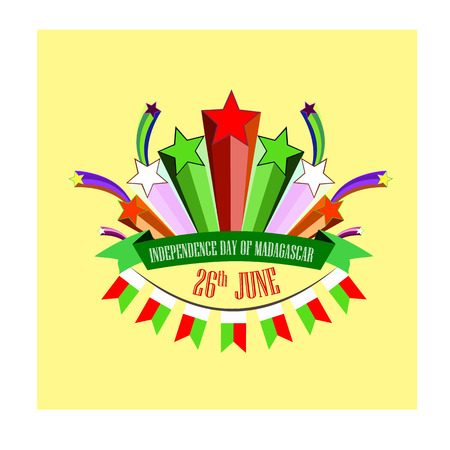 Independence Day of Madagascar, vector illustration with stylized festive fireworks