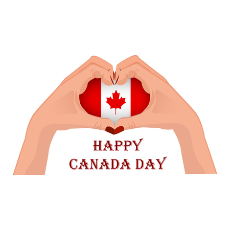 Canada Day, vector illustration with two hands in the shape of the heart, inside the national flag isolated on a white background