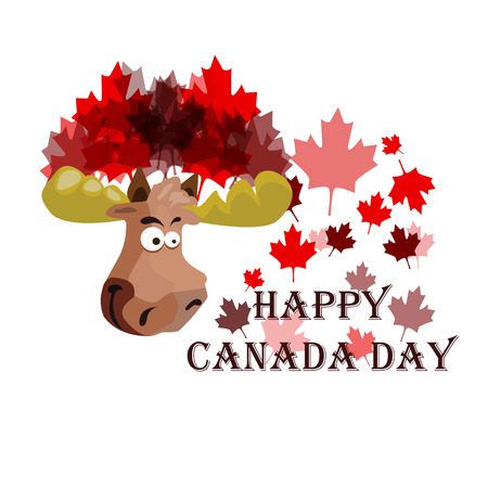 Conception on Canada Day, Festive Elk, on the background of maple leaves, vector illustration 矢量图像