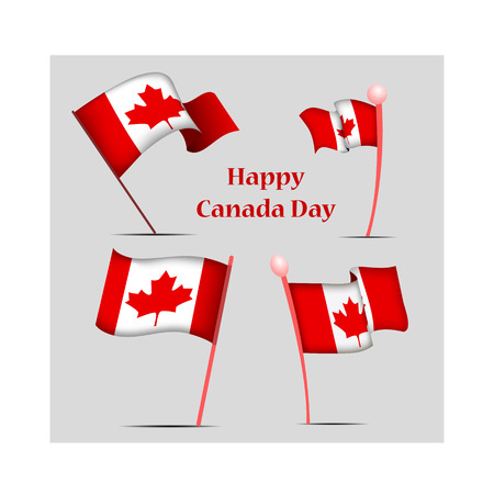 Canada Day, vector illustration, set with national flags 矢量图像